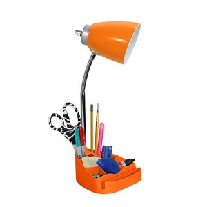LimeLights Gooseneck Organizer Desk Lamp with Holder and USB Port - Orange