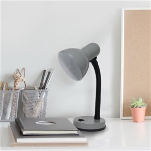Simple Designs Basic Metal Desk Lamp with Flexible Hose Neck - Gray