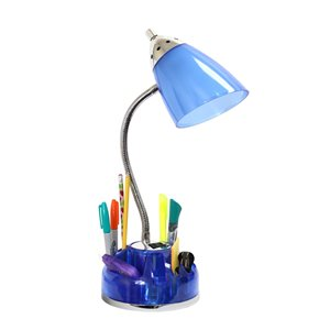 LimeLights Flossy Organizer Desk Lamp with Charging Outlet Lazy Susan Base - Clear Blue