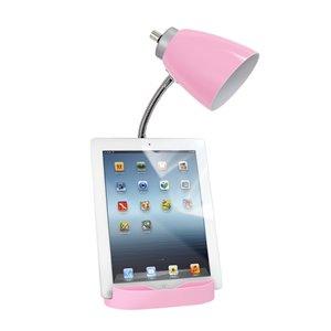 LimeLights Gooseneck Organizer Desk Lamp with Holder and USB Port - Pink