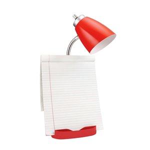 LimeLights Gooseneck Organizer Desk Lamp with Holder and USB Port - Red