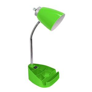 LimeLights Gooseneck Organizer Desk Lamp with Holder and Charging Outlet - Green