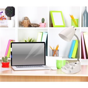 LimeLights Gooseneck Organizer Desk Lamp with iPad Tablet Stand Book Holder - White