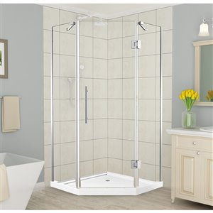 Turin Tampa Corner Shower Enclosure Set - 38-in x 38-in - Chrome