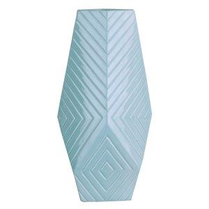 ArtMaison Canada Linear Ceramic Decorative Vase 15 x 7.5-in , Turquoise Blue