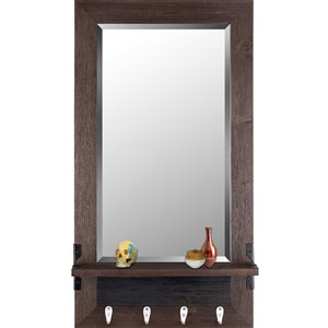 Mirrorize Canada 37.6-in L x 20.8-in W Rectangle Brown Framed Wall Mirror