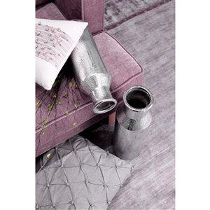 ArtMaison Canada Ceramic Narrow Round Vase 15 x 5-in, Silver