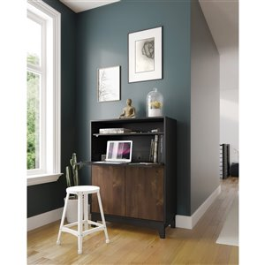 Nexera 402698 Boss Secretary Desk - Truffle and Black