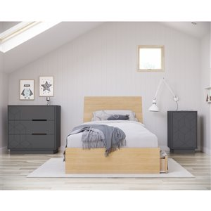 Nexera Nightstand - 1-Door - Charcoal Grey