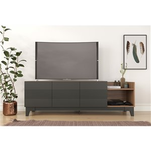 Nexera 402628 Influence TV Stand - 72-inch - Nutmeg and Charcoal Gray