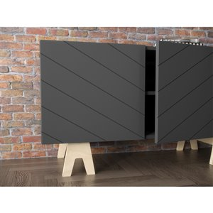 Nexera 119273 Runway TV Stand - 72-inch - Charcoal Gray and Russian Birch Plywood