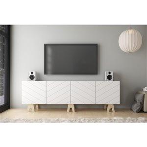Nexera 119272 Runway TV Stand - 72-inch - White and Russian Birch Plywood