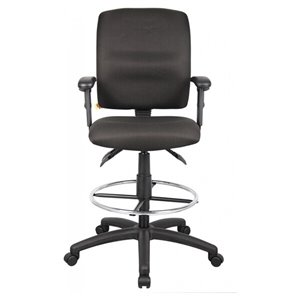 Nicer Interior Multi-Function Ergonomic Drafting Chair - Adjustable Arms - Black Fabric