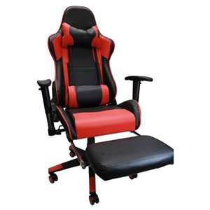 Nicer Interior Reclining Gaming Chair with Head Cushion - Black and Red