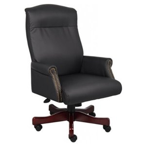 Nicer Interior Traditional Executive Chair - High Back - Black Leather