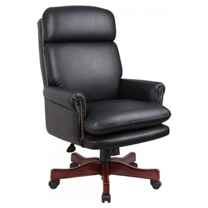 Nicer Interior Traditional Executive Chair - Black and Mahogany Base