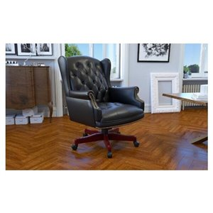 Nicer Interior Traditional Executive Chair - High Back - Black Faux Leather