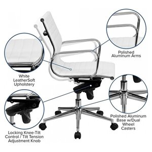 Nicer Interior Modern Executive Chair - White Leather