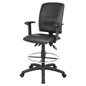 Nicer Interior Multi-Function Ergonomic Drafting Chair with Arms - Black Faux Leather