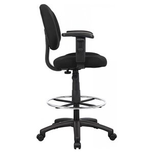 Nicer Interior Drafting Chair with Foot Ring - Black Fabric
