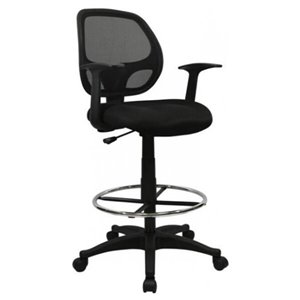 Nicer Interior Computer Desk Drafting Chair with Foot Ring - Black