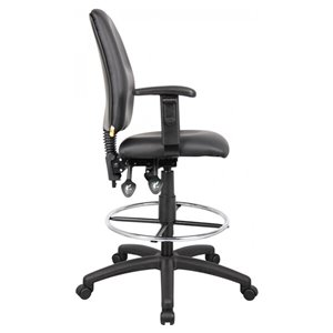 Nicer Interior Multi-Function Ergonomic Drafting Chair - Adjustable Arms - Black Faux Leather