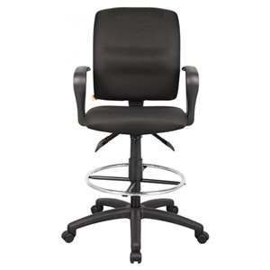Nicer Interior Multi-Function Ergonomic Drafting Chair with Adjustable Arms - Black Fabric