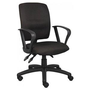 Nicer Interior Multi-Function Ergonomic Desk Chair - Adjustable Arms - Black Fabric