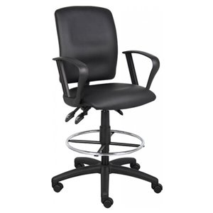 Nicer Interior Multi-Function Ergonomic Drafting Chair with Adjustable Arms - Black Faux Leather