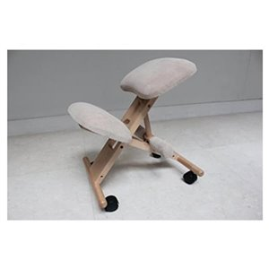 Nicer Interior Memory Foam Drafting Chair - Grey and Natural Wooden Frame