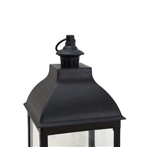 Sunjoy Hiltop Outdoor Lantern with LED Lights - 9.45-in x 27.95-in - Black Plastic