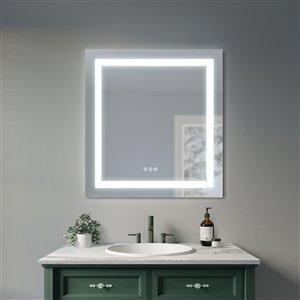 Sunjoy Luxury LED Mirror with Bluetooth Speaker - 30-in x 32.01-in - Silver