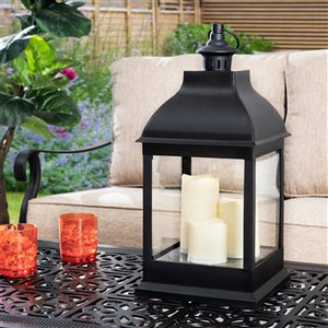 Sunjoy Cecil Outdoor Lantern with LED Lights - 9.45-in x 20.08-in - Black Plastic