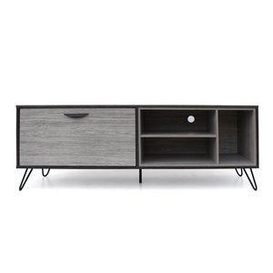 Noble House Dorrin Mid-Century Modern Two-Toned Gray Oak Finished Faux Wood TV Stand