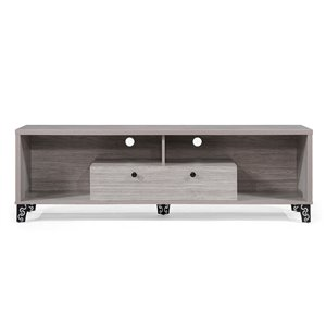 Noble House Celine Mid-Century Modern Faux Wood Entertainment Unit - Gray Oak and Black