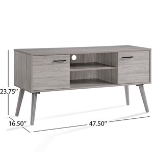 Noble House Amarah Mid-Century Modern Gray Oak Finished Fiberboard Entertainment Center