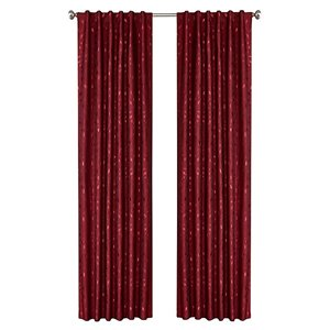 North Home Ivy Single Curtain Panel - Rod Pocket - 96-in - Burgundy