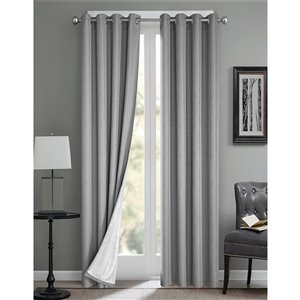 North Home Princeton Single Curtain Panel - Grommet - 96-in - Silver Grey