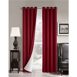 North Home Princeton Single Curtain Panel - Grommet - 96-in - Burgundy