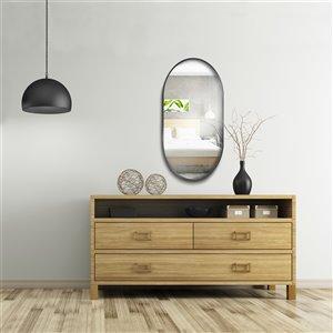 Jade Bath Rae Oval Decorative Mirror - 47.24-in x 23.62-in - Matte Black