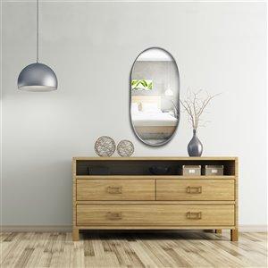 Jade Bath Rae Oval Decorative Mirror - 47.24-in x 23.62-in - Polished Chrome