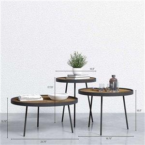 Round Tray Table Set - 3 Pieces - Metal