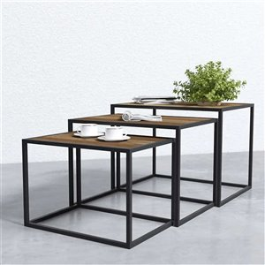 Square Nesting Tray Tables - 3 Pieces - Brown