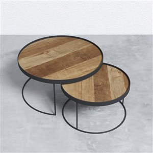 Round Nesting Tray Tables - 2 Pieces - Metal