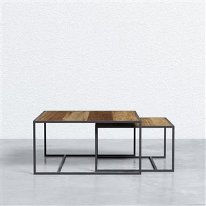 Square Nesting Tray Tables - 2 Pieces - Metal