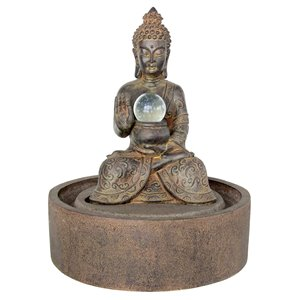 Henryka Outdoor Fountain - with LED Light - Concrete - 23-in - Rust