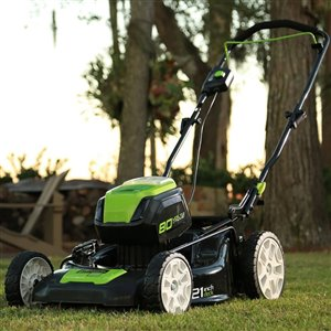 Greenworks Pro Cordless and Brushless Push Lawn Mower - 80-Volt - 21-in - 2 Lithium-Ion Batteries