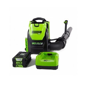 Greenworks Cordless Backpack Leaf Blower with Lithium-Ion Battery and Charger - 80-Volt - 580 CFM - 145-mph