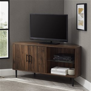 Walker Edison 2-Door Glass Shelf Corner TV Console - 48-in - Dark Walnut