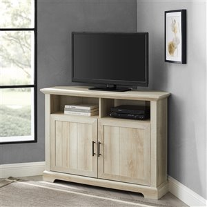 Walker Edison Grooved Door Corner TV Console - 44-in - White Oak